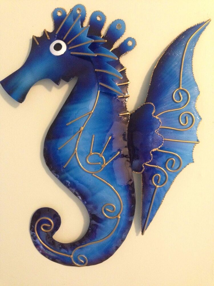 metal wall art seahorses fish dolphins assorted colours ebay. Black Bedroom Furniture Sets. Home Design Ideas