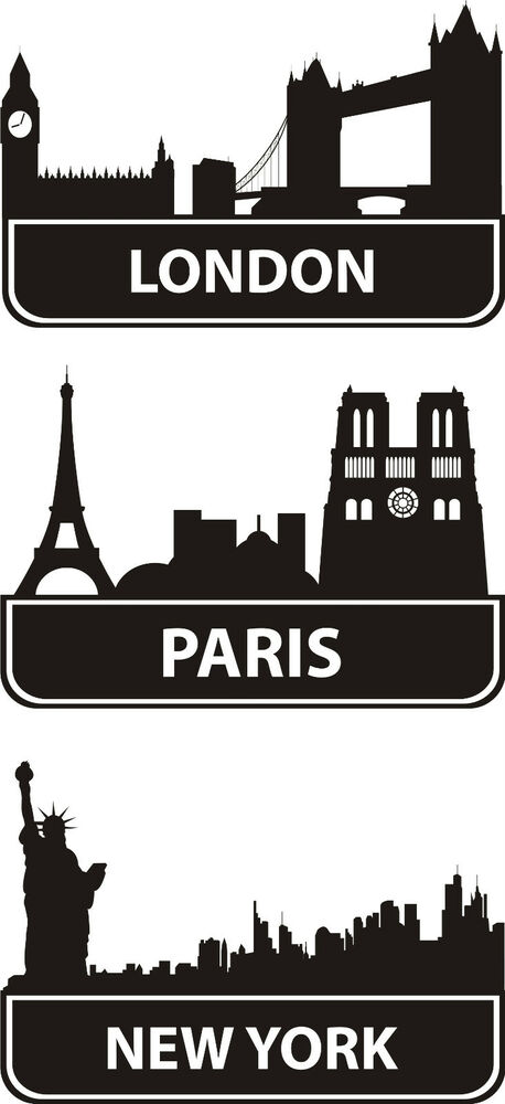 london paris new york wall art sticker decal ebay. Black Bedroom Furniture Sets. Home Design Ideas