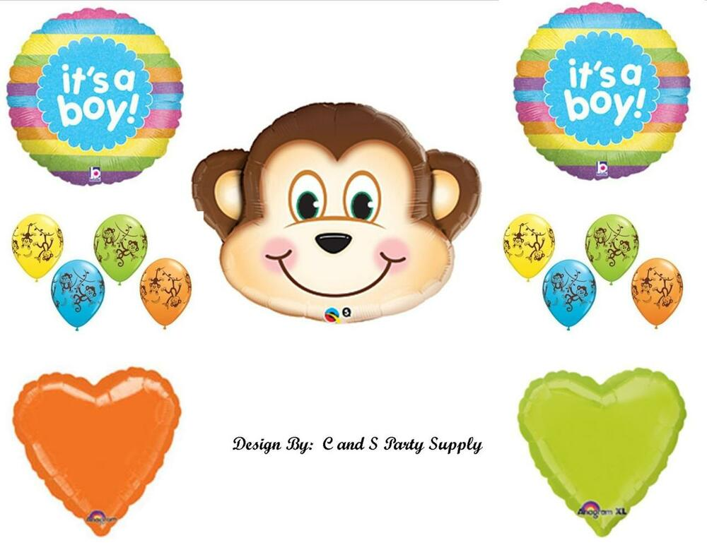 Baby boy monkey rainbow shower balloons decorations supplies jungle mischevious ebay - Monkey balloons for baby shower ...