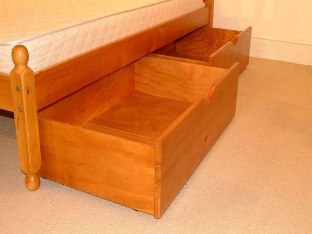 Pair Of Underbed Drawers Pine Wood Wooden Storage Draws