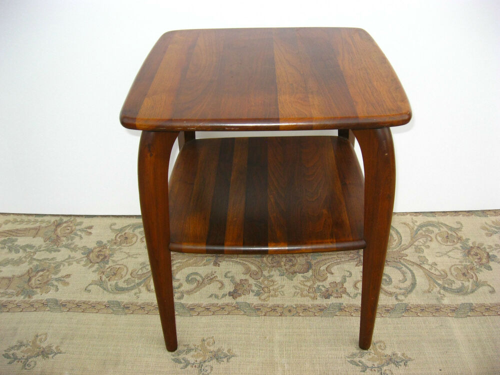 vintage danish mid century modern two tier square end table coffee entry table ebay. Black Bedroom Furniture Sets. Home Design Ideas