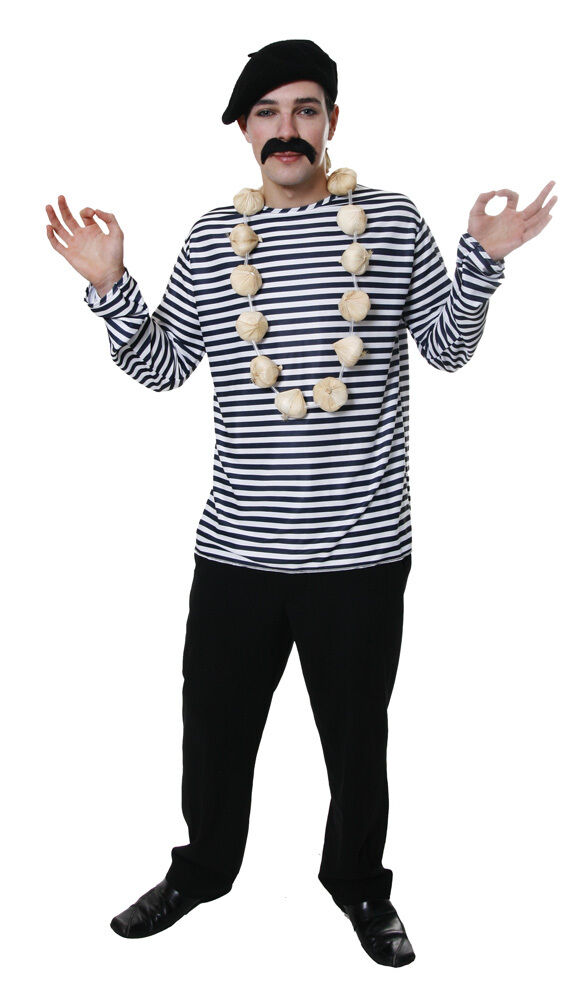 Adult mens french fancy dress blue and white striped shirt for French striped shirt and beret