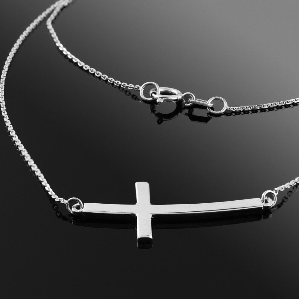925 sterling silver sideways curved cross necklace ebay. Black Bedroom Furniture Sets. Home Design Ideas