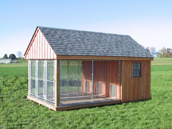 K 9 pa dutch built dog kennel outdoor run fence house for Dog run outdoor kennel house