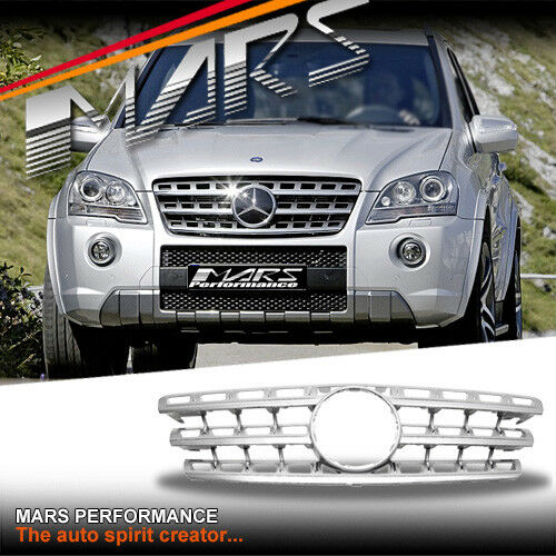 Chrome Silver Amg Ml63 Style Grille Grill For Mercedes