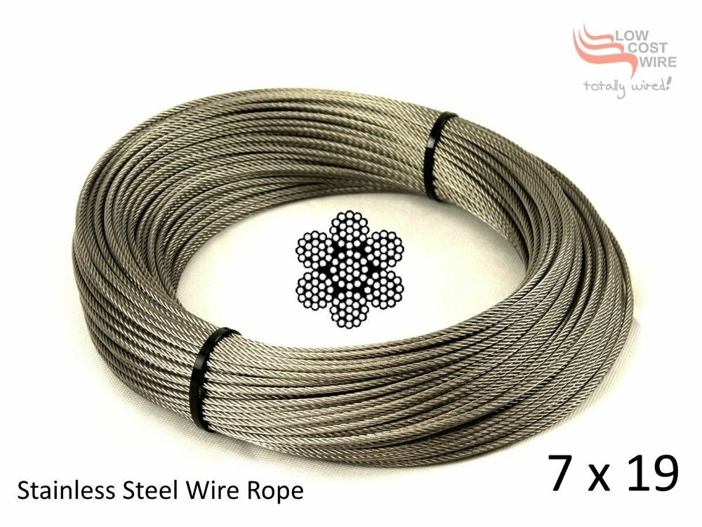 Stainless Steel Wire Rope 7x19 strand x 50 metre 316