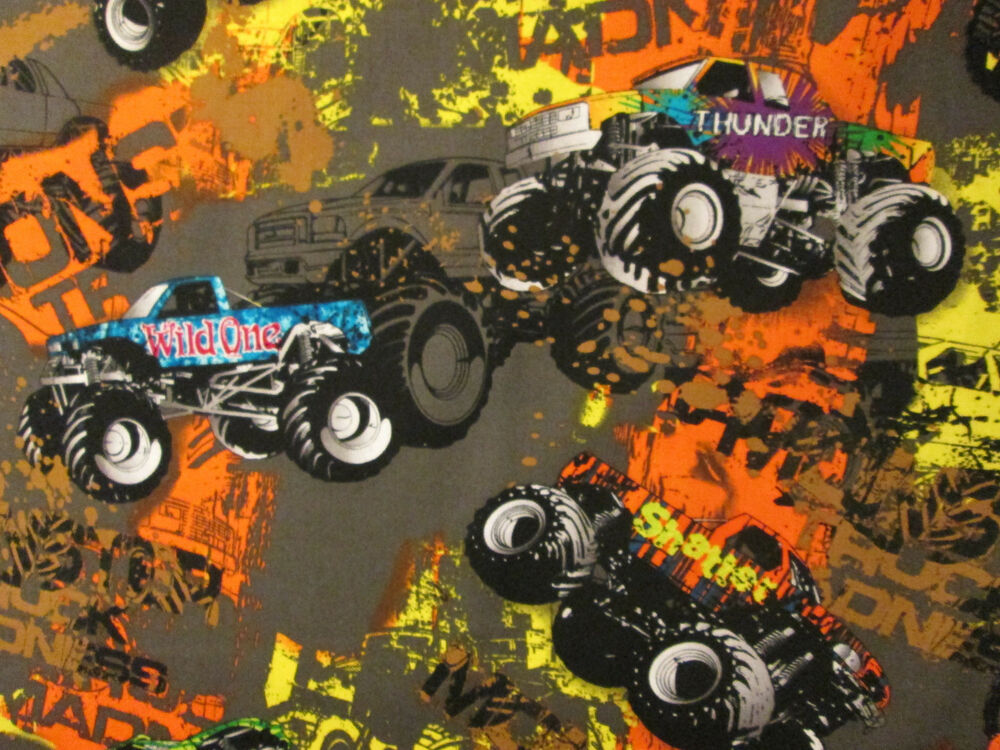 Monster trucks 4 wheelers colors brown cotton fabric fq ebay for Monster truck fabric