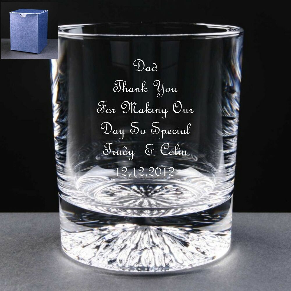 Wedding Gifts For Fathers: Personalised Whisky Glass,Wedding Gift, Mother / Father Of