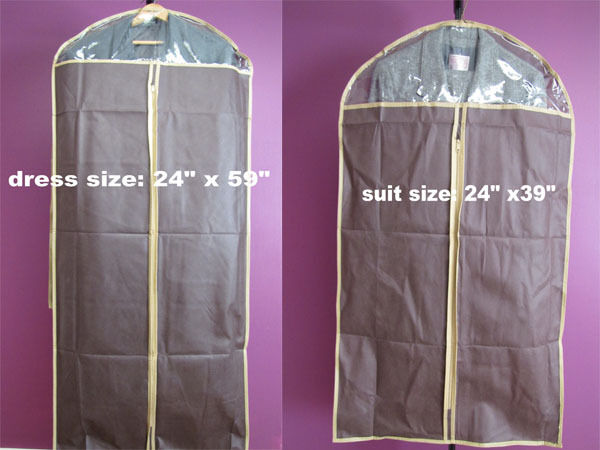 garment storage bags non woven w clear window hanging suit coat dress gown new ebay. Black Bedroom Furniture Sets. Home Design Ideas