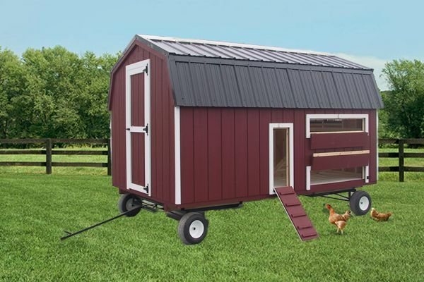 Portable chicken barn wagon gear coop hen house amish pa for Portable hen house