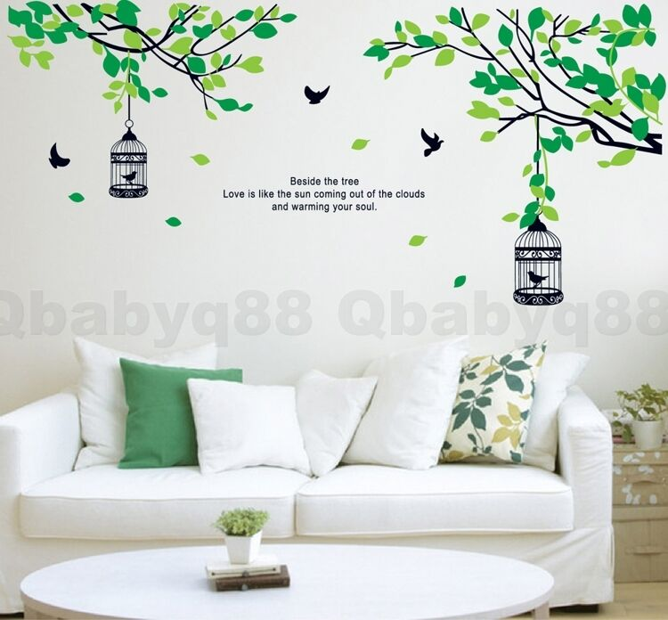 Large Tree Branch Two Bird Cages Wall Sticker Decal