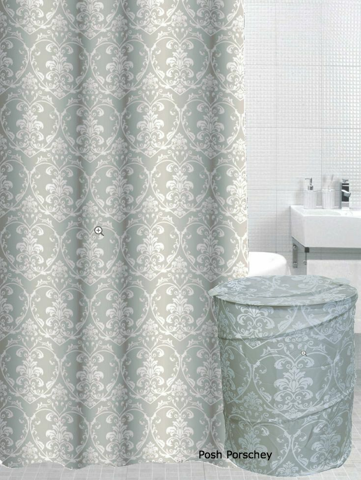 Beige green white damask shower curtain pop laundry for Beige damask curtains