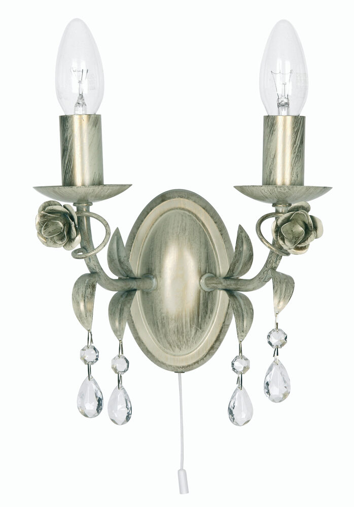 Tiffany Wall Sconce With Switch : CREAM GOLD FINISH CHANDELIER DOUBLE WALL LIGHT WITH PULL CORD SWITCH eBay