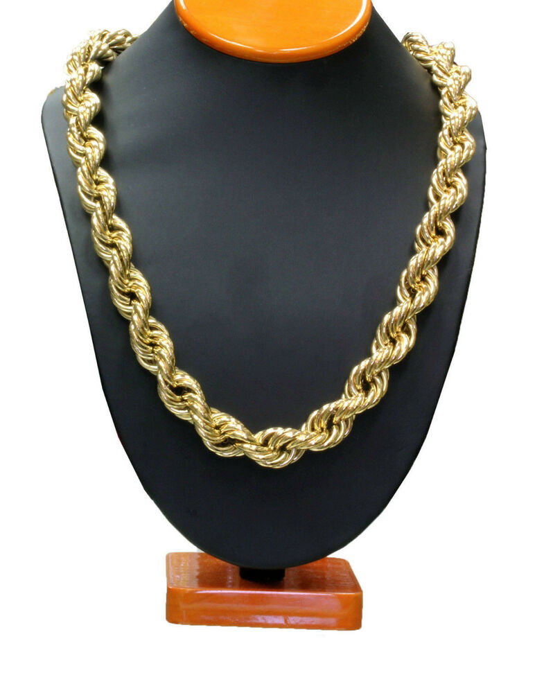 14k gold plated necklace rope chain 36quot inch length thick