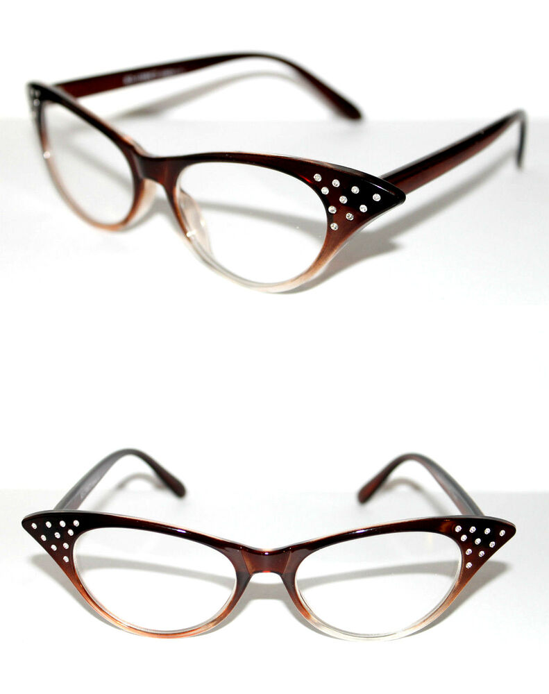 Womens small Cat Eye Clear Lens Eye Glasses Rhinestone 50 ...