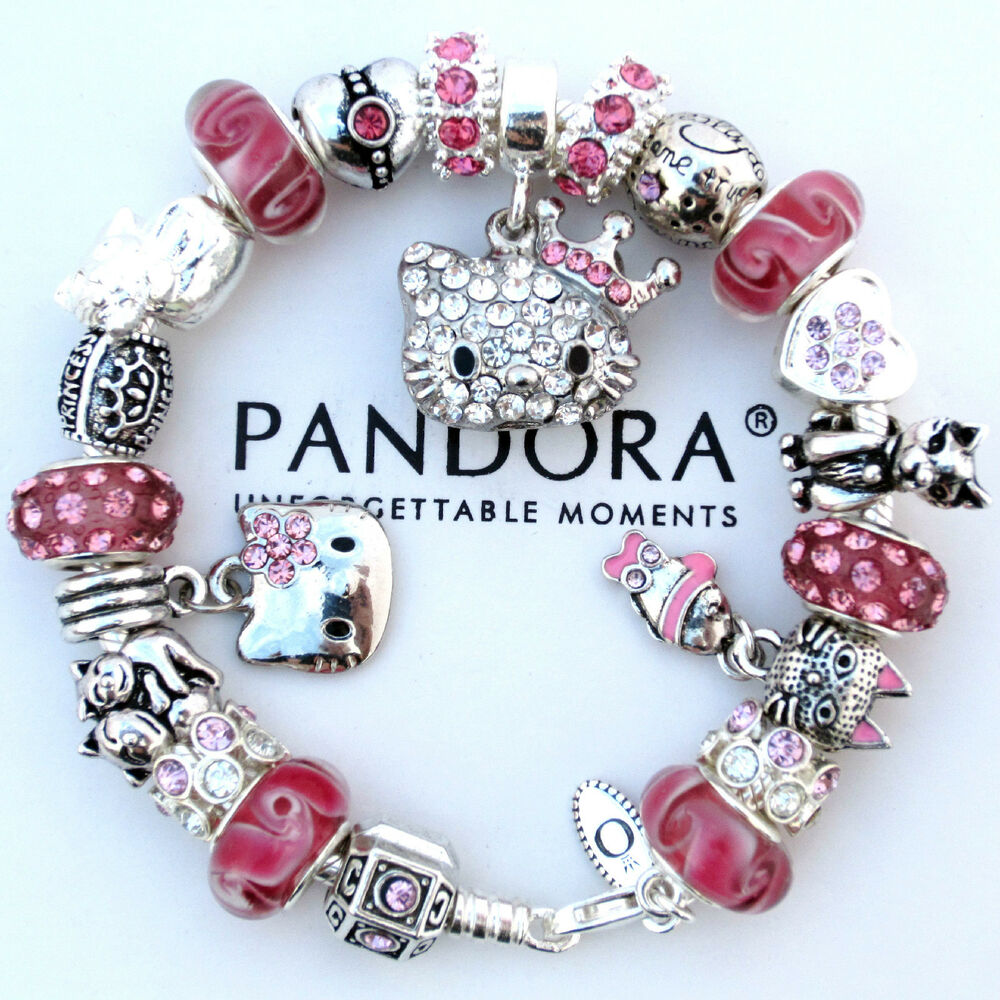 authentic pandora bracelet pink crystal hello kitty. Black Bedroom Furniture Sets. Home Design Ideas
