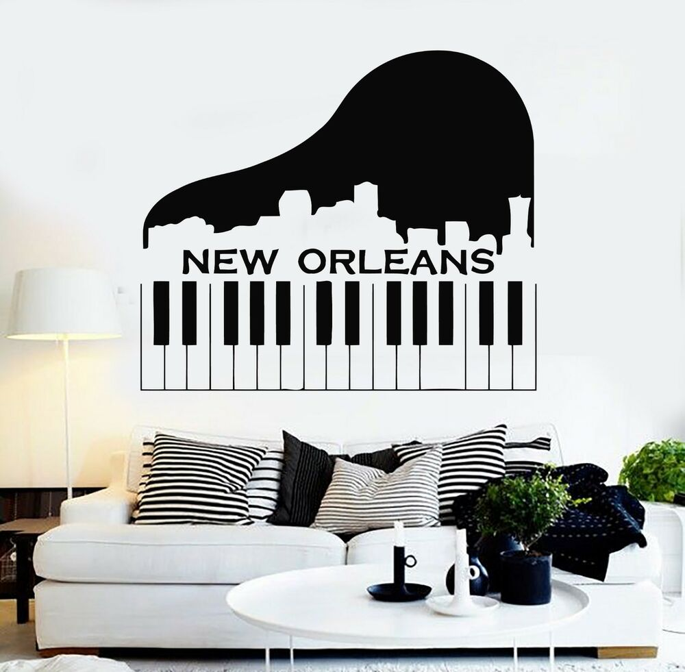 Wall Stickers Vinyl Decal New Orleans City USA Keys Piano ...