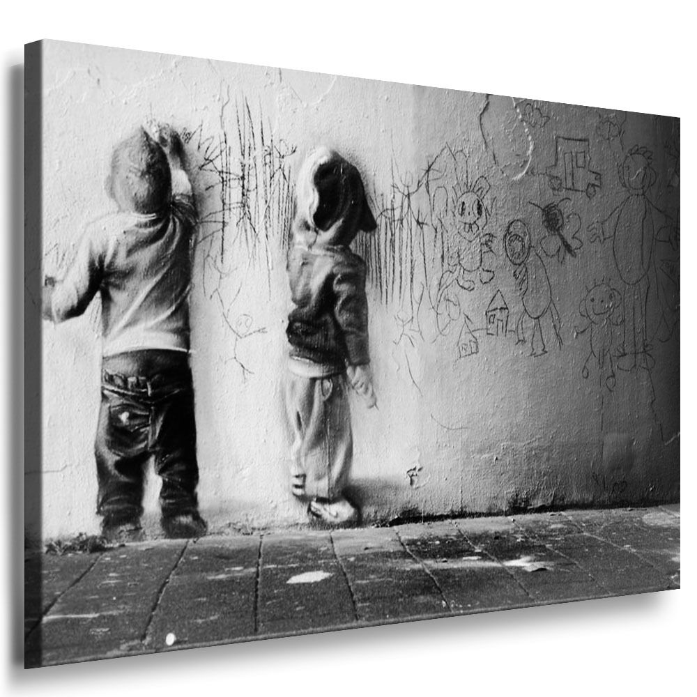 banksy graffiti bild auf leinwand street art kunstdruck wandbild k poster ebay. Black Bedroom Furniture Sets. Home Design Ideas