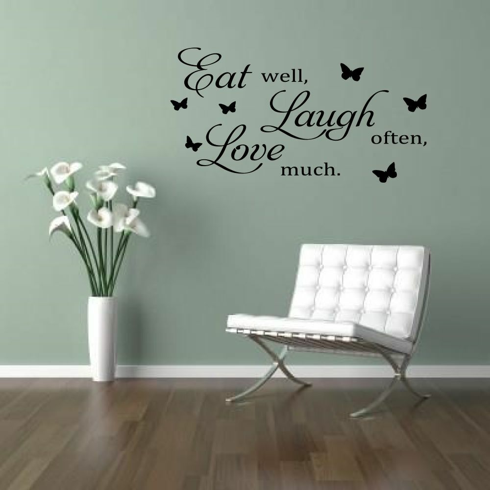 Details About EAT LAUGH LOVE Kitchen Dining Room Wall Quote Decals Stickers
