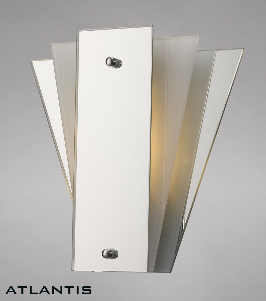 Art Deco Wall Light With White Glass And Mirror Panels