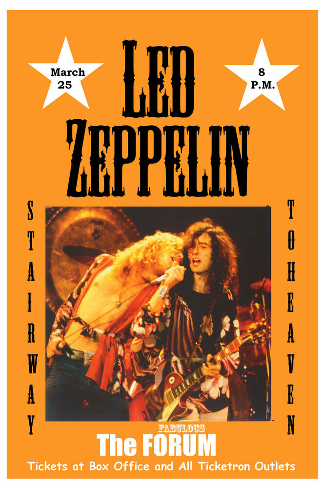 1970 39 s heavy metal led zeppelin at the forum los angeles concert poster 1975 ebay. Black Bedroom Furniture Sets. Home Design Ideas