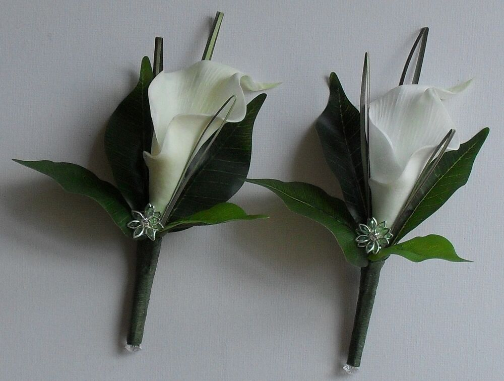 vintage artificial crystal diamante flower calla lily wedding buttonhole corsage ebay. Black Bedroom Furniture Sets. Home Design Ideas