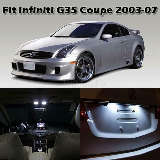 7 x white led lights interior package deal for 2003 2007 infiniti g35 coupe ebay. Black Bedroom Furniture Sets. Home Design Ideas