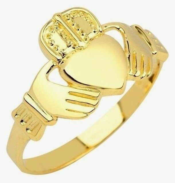 solid 10k yellow gold irish celtic claddagh ring for men. Black Bedroom Furniture Sets. Home Design Ideas