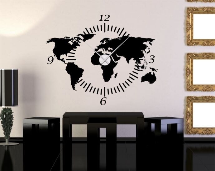 wandtattoo inkl wanduhr karte weltkarte ziffernblatt uhr. Black Bedroom Furniture Sets. Home Design Ideas
