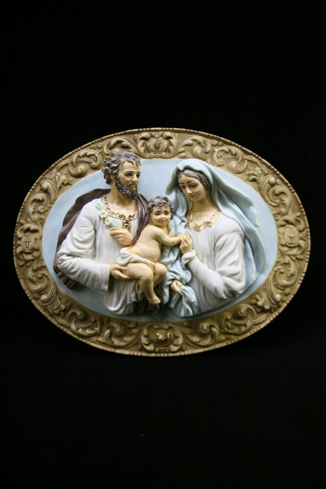 Holy family joseph jesus mary wall plate plaque statue for Joseph e joseph italia