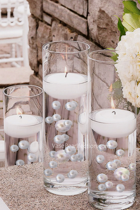 Unique Jumbo Assorted Sizes White Pearls Vase Fillers Transparent