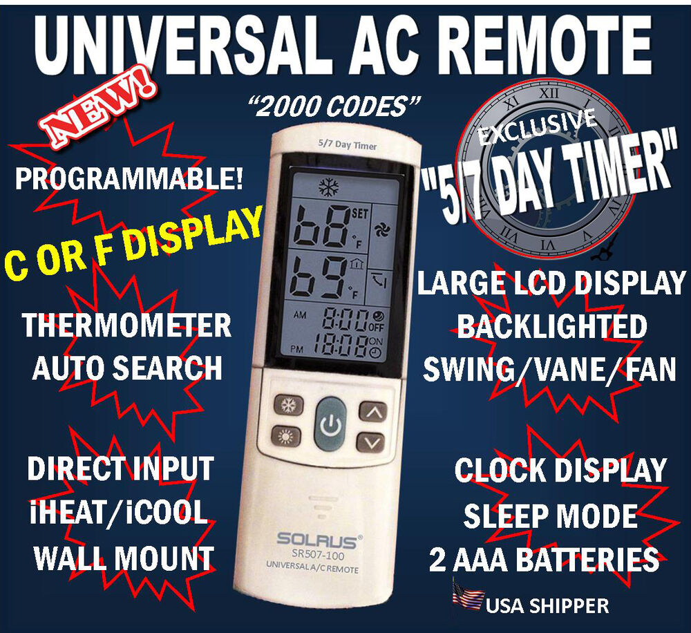 Universal a c remote for sanyo york trane carrier sharp for 1000 in 1 universal a c remote code table
