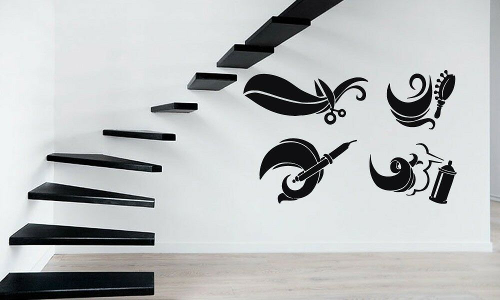 Wall stickers vinyl decal spa hair salon barbershop for Stickers salon