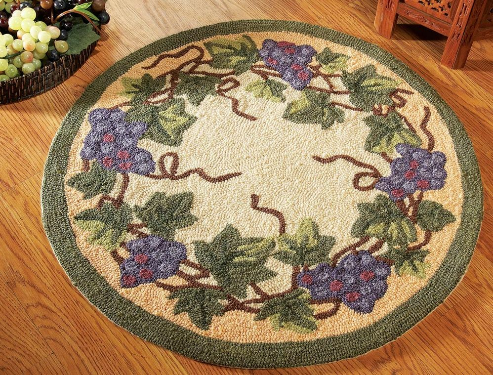 Grapevine Purple Grape Green Vine Round Accent Small Area