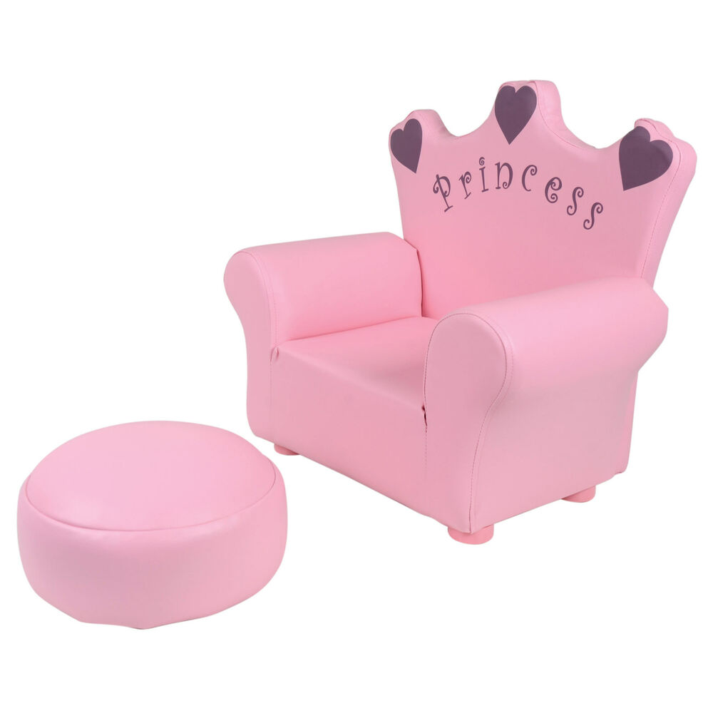 Kids pu leather look armchair sofa chair footstool for Childrens armchair and footstool
