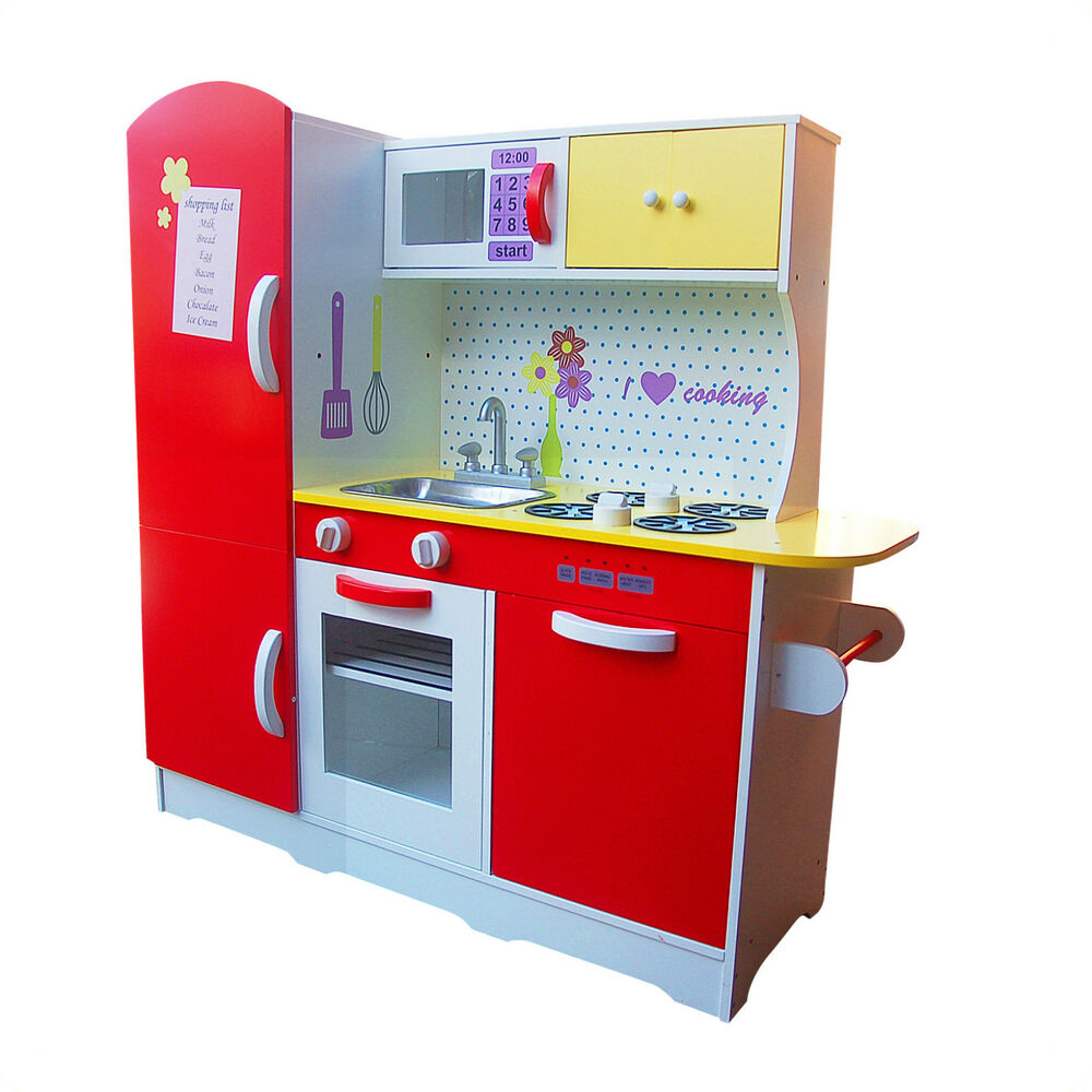 Brand New Large Wooden Red White Kids Pretend Play Kitchen Fridge Cooking Set Ebay