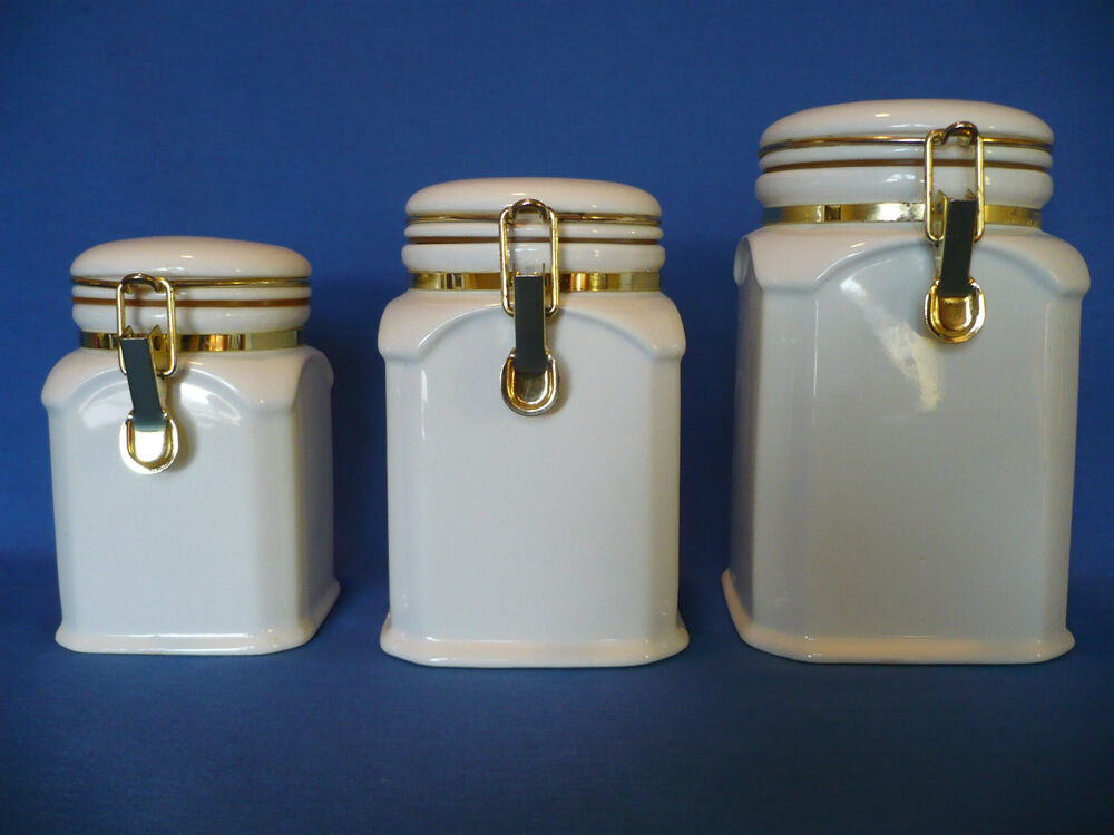 square kitchen canisters set of 3 white square ceramic latch lock seal kitchen canisters gold hardware ebay 7555