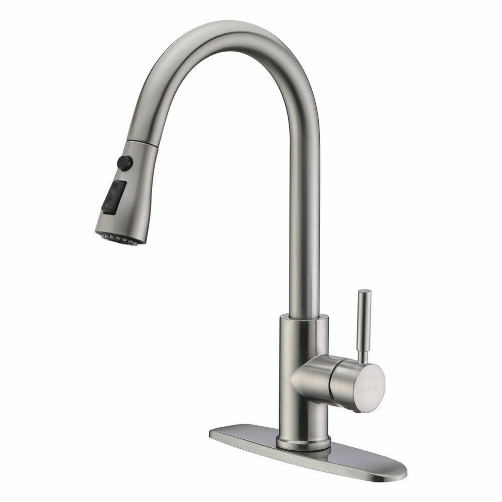 New Brushed Nickel Pull Out Sprayer Kitchen Faucet Replacement Dual Spray Head Ebay