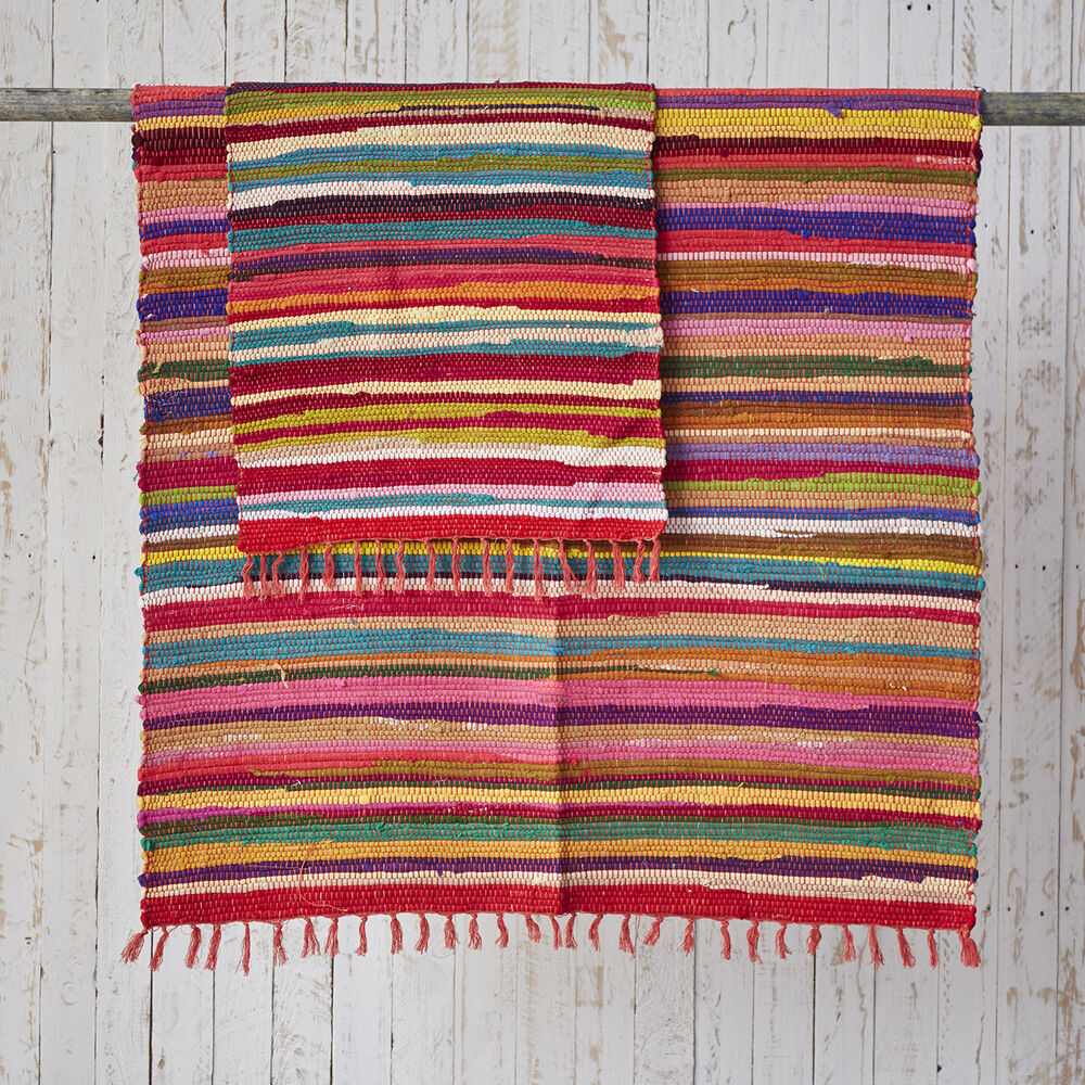 Fair Trade Handmade Indian Recycled Rag Rugs 150 X 90cm