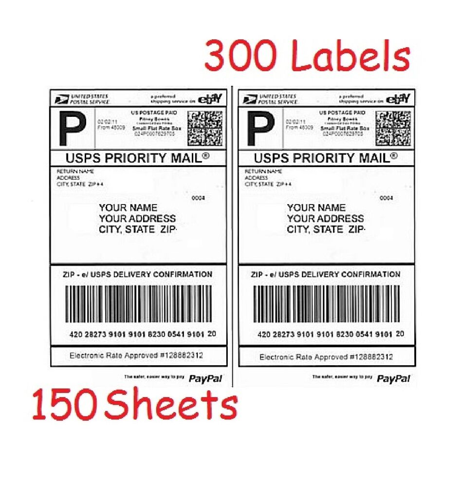 300 half sheet shipping labels for laser inkjet for ebay for Half page shipping labels