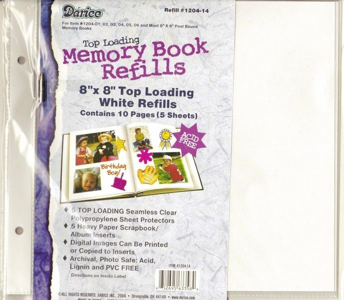 8x8 refill page protector scrapbook album 5 sheets 2 for American crafts page protectors 8x8