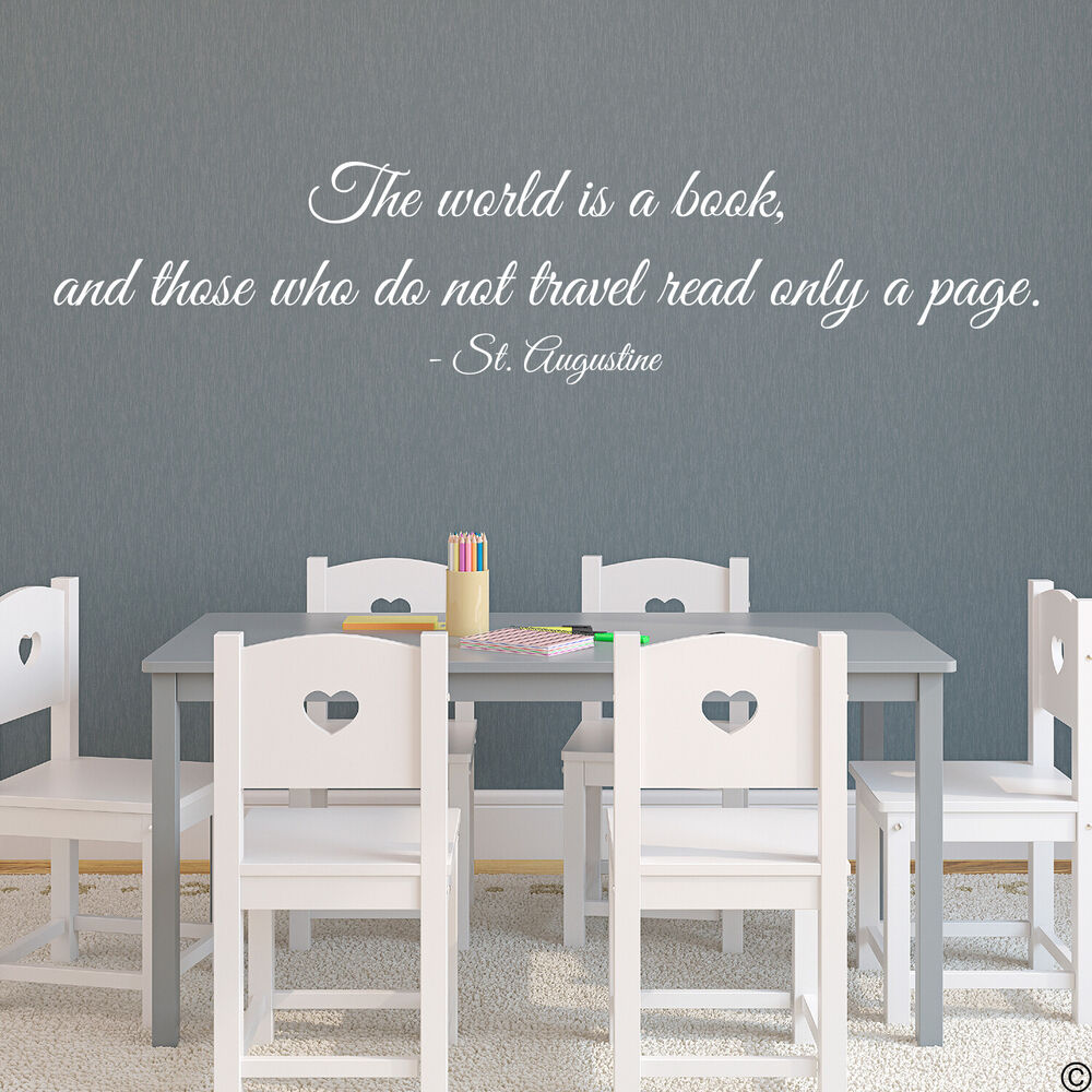 Wall Decals Quotes: THE WORLD IS A BOOK, AND...TRAVEL