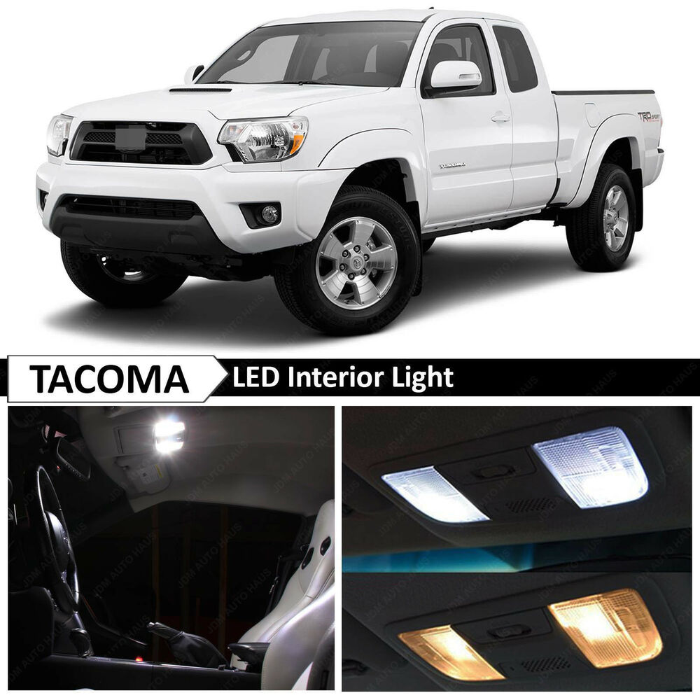 9x white interior led lights replacement package kit fit 2005 2015 toyota tacoma ebay for Led car interior lights ebay