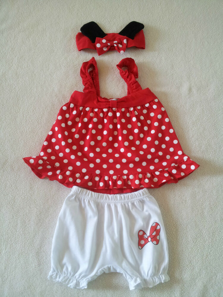 Minnie Mouse Baby Girl Red Pink Polka Dots Set W Headband