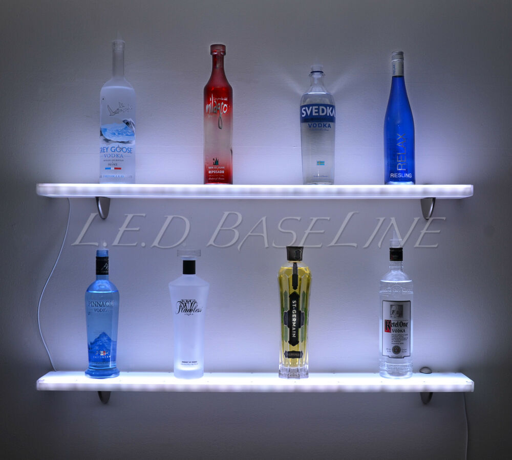 72 glowing wall display shelf led color changing lights with remote control ebay. Black Bedroom Furniture Sets. Home Design Ideas