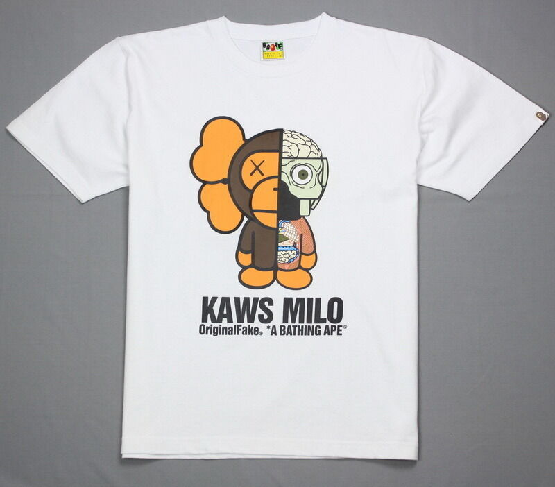 new bape t shirt a bathing ape tee baby milo x kaws brown. Black Bedroom Furniture Sets. Home Design Ideas