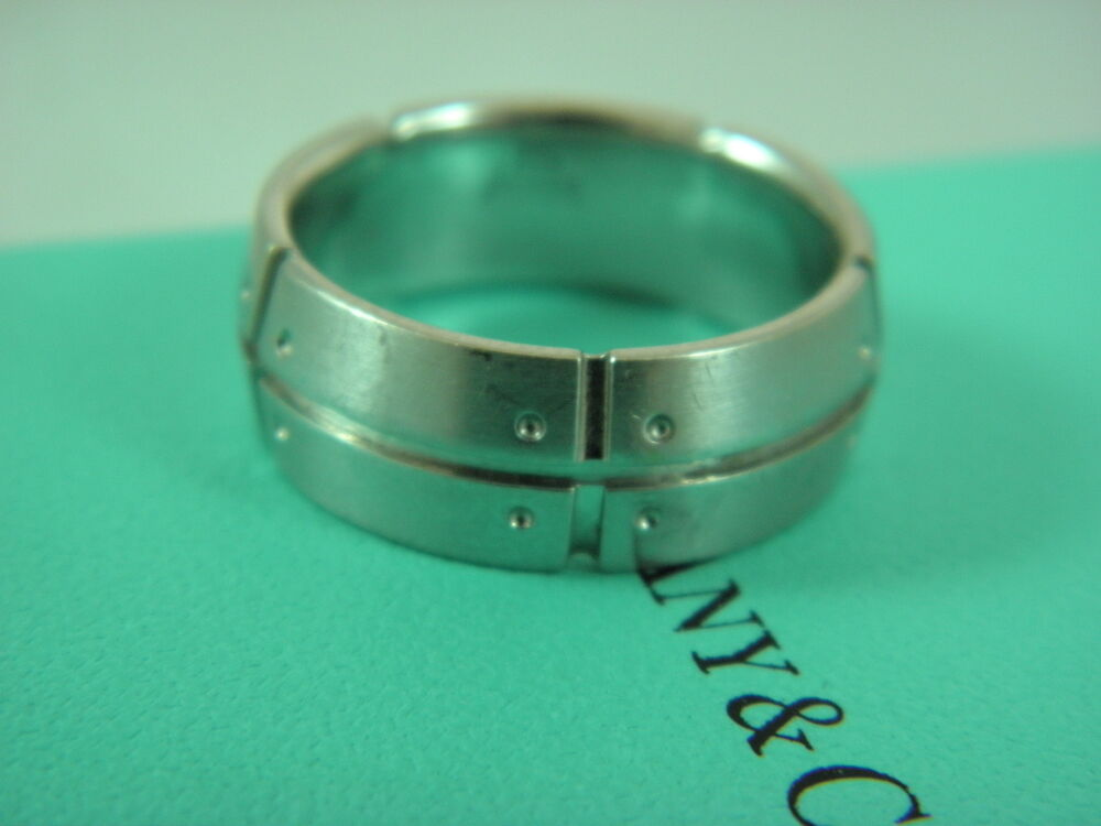 Tiffany Amp Co Mens Wedding Band Ring Solid 18k White Gold