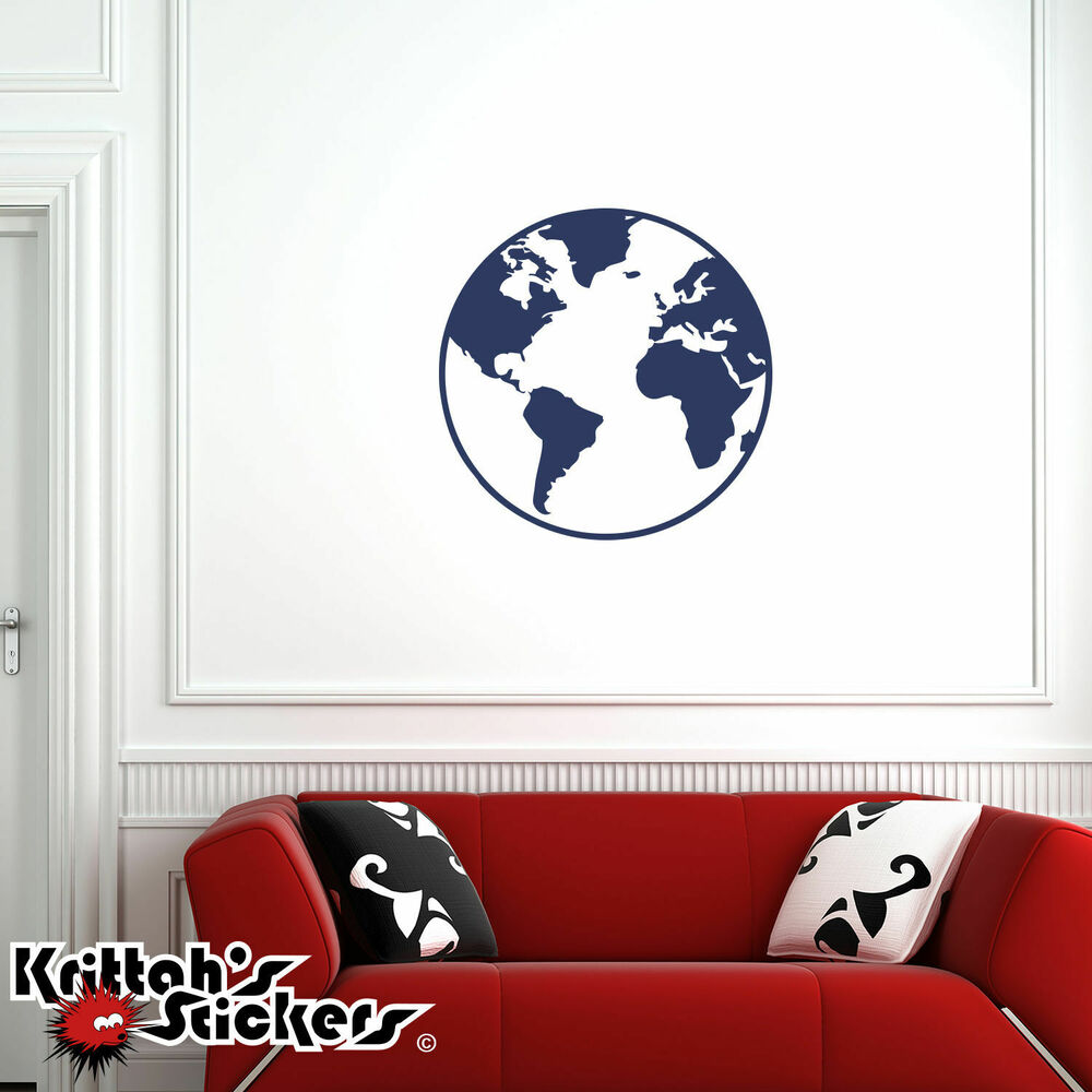 Planet Earth Vinyl Wall Decal World Peace Globe Map Art