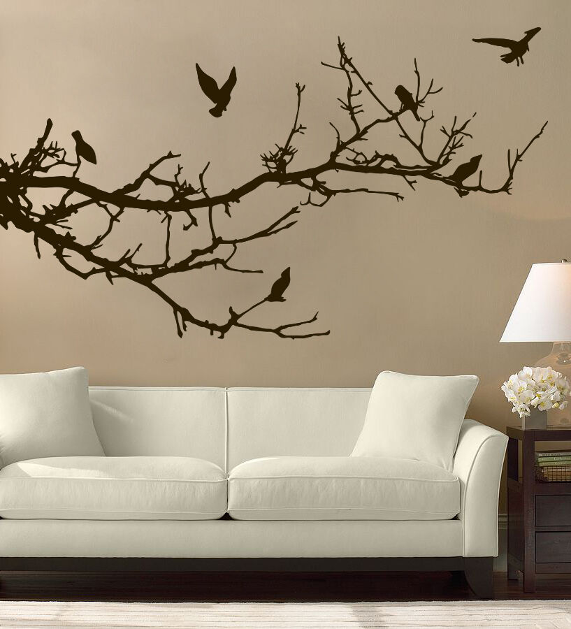 Tree branches birds wall art free squeegee decal sticker for Tree wall art