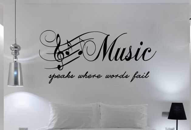 Quote bedroom wall art music speaks words fail sticker for Word wall art